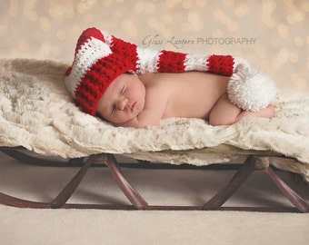 Stocking hat, sleep hat, elf hat, photo prop, crochet baby prop, Christmas prop, baby accessories, crochet prop, long tailed hat