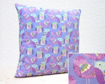 "Handmade 16""x16"" Cotton Cushion Pillow Cover in Pale Mauve/Dark Mauve/Green/White Cute Patterned Feathered Birds design Print"