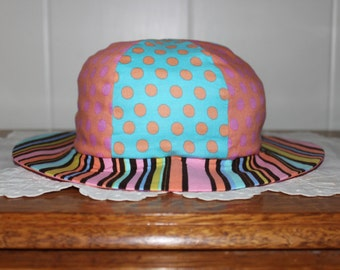 SALE - Was 20.00, now 16.00! Fun Dots and Stripes Sunhat Size One to Three Years