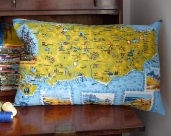 Vintage South Coast Tea Towel Cushion