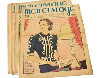 """Set of 4 Vintage French magazines """" Mon Ouvrage """", embroidery, crochet, knitting, lingerie, monograms, napkins"""