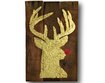 Rudolph Sign / Glitter Reindeer Sign / Christmas Holiday Decoration