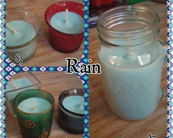 Rain scented soy votive candle