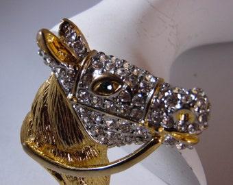 Gold Tone Crystal Rhinestone Horse Head with Green Crystal Eye Brooch