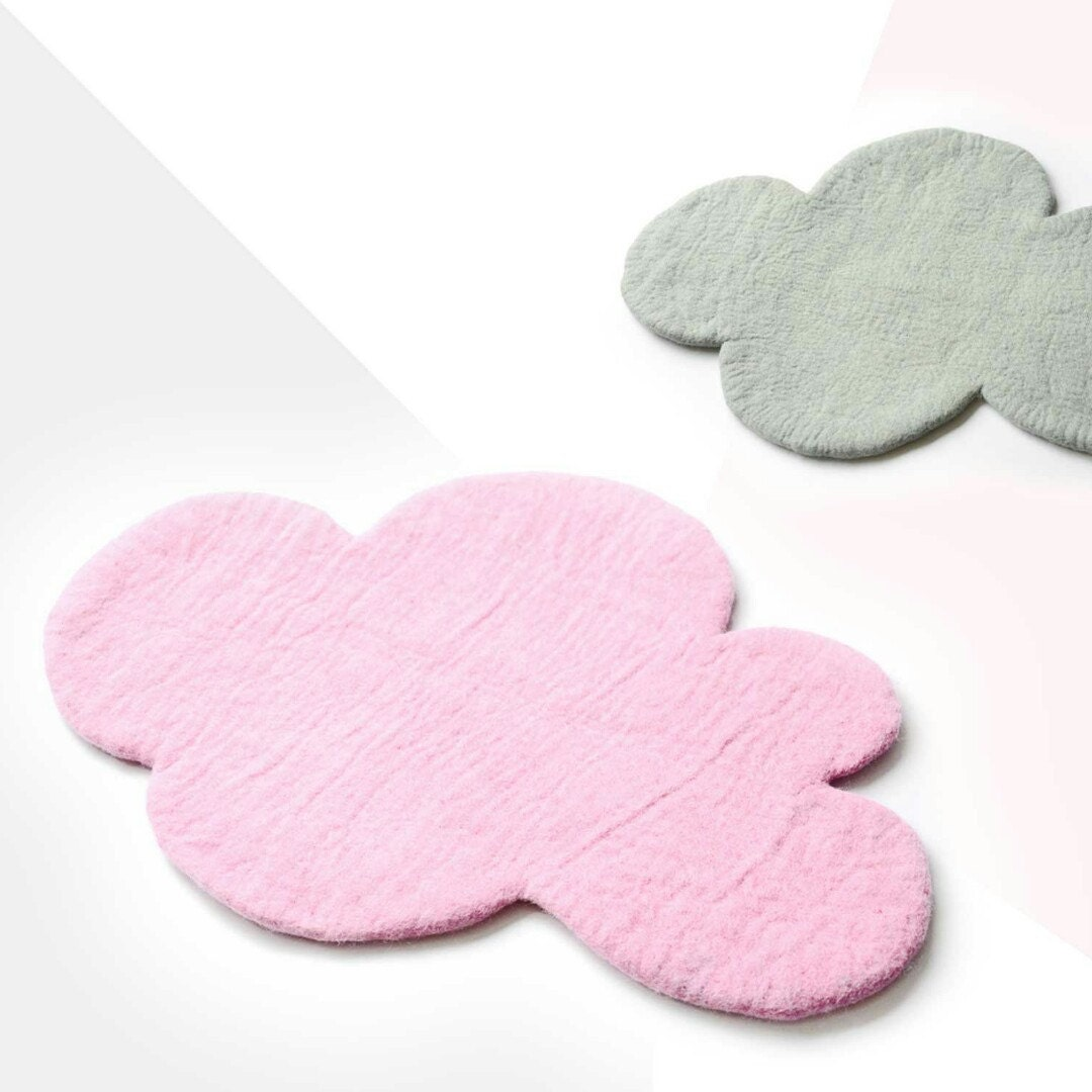 Soft And Elegant Gray And Pink Nursery: Cloud Rugs SOFT PINK & GREY Rugs Felted Rug Nursery Rug