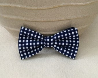 Dog Bow / Bow Tie - Navy and White Checkered