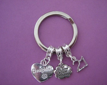 Daughter 21st Birthday Gift Follow Your Dreams Keyring