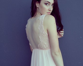 Vintage Alice In Wonderland Pale Pink Lace High Low Chiffon Dress