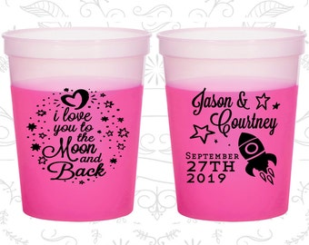 Love you to the moon and back, Promotional Mood Cups, Spaceship, Moon Wedding, Magenta Mood Cups (267)
