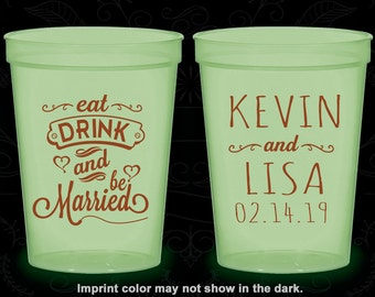 Eat Drink and Be Married Wedding, Wedding Favor Glow Stadium Cups, Hearts, Glow-in-the-Dark (239)