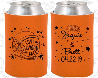 Love you to the moon and back, Wedding Reception, Space Helmet, Moon Wedding, Wedding Beer Can Coolers (263)