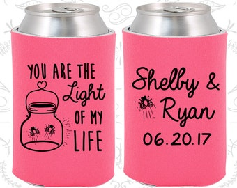 Hot Pink Wedding, Can Coolers, Hot Pink Wedding Favors, Hot Pink Wedding Gift, Hot Pink Party Gift (262)