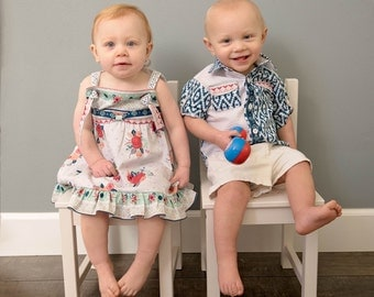 Boy Girl Twin Matching Outfit, Easter Twin Outfits, Matching Brother Sister Outfits , Aztec Floral Matching Twin Outfits, Summer Twin Outfit