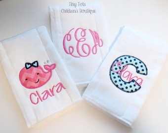 Monogram Burp Cloth Set - Personalized Cloth Diaper - Whale - Chevron - Polka Dot - Hot Pink