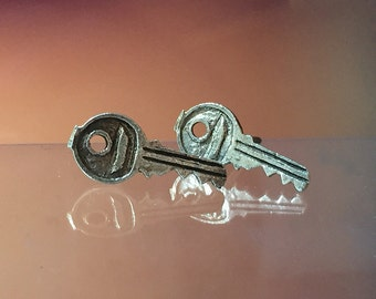 925 Solid Sterling Silver KEY Earrings- Small- Oxidized- Studs/Tools Earrings