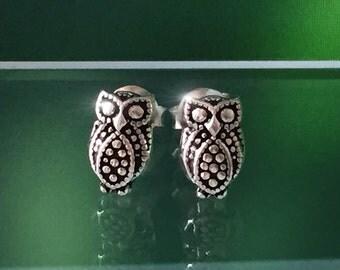 925 Solid Sterling Silver Marcasite OWL Earrings #2/Oxidized/Silver Owl Earrings/Owl Silver Earrings/Owl stud Earrings