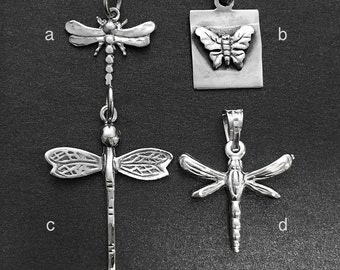 925 Solid Sterling Silver DRAGONFLY Pendant/BUTTERFLY Pendant/Oxidized/Polished