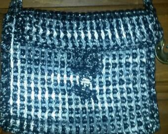 Silver and Black Crochet Soda Tab Purse