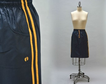 80s Hang Ten Skirt - Vintage Navy Blue and Yellow Side Stripe Sporty Skirt Front Pockets Side Slits Surf Clothing Hawaii Clothing Skate Wear