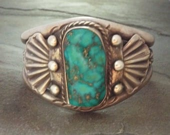 Old Pawn Navajo Turquoise Cuff Bracelet 85.5g  Vintage Native American Silver Jewelry