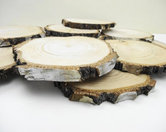 "4""-4.5"" Birch Wood,Wood Slices,Tree Slices,Wood Ornaments,Woodwork,Crafts, DIY Wedding Wood, Blank Wood Coasters,Wood Rounds E01, Set of 10"