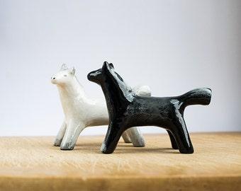Animal Totem Two Horses black and white set, horse totem, horse figurines, home decor, tiny zoo, weddind decor