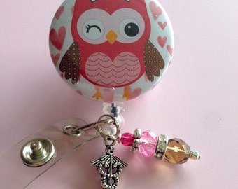 RN / MA / LVN Retractable Badge Reel- Cute Owl Nurse