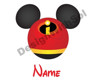 Mr Incredible Ears customized with name of your choice available as file to print on iron on transfer paper The Incredibles