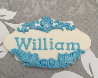 Baptism, Christening, First communion fondant name plaque for cake
