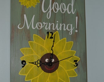 Bathroom Sunflower Clock CHOOSE  YOUR THEME