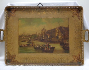 "Signed Decorative ""Port of New York"" Metal Tray with Handles 16x22"" ANTIQUE"