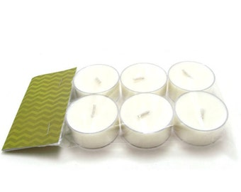 Scented Soy Tea Lights - Package of 6 - Gardenia, Wedding, Housewarming, Birthday, Shower Favor, Gift Under 10