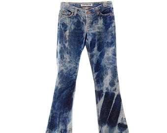 Upcycled Tie Dye Jeans, OOAK Repurposed Ladies Pants, Recycled Trippy Clothing, Hippie Bottoms