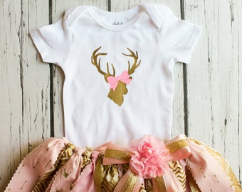 Pink and gold first birthday outfit girls photography prop, deer, arrow