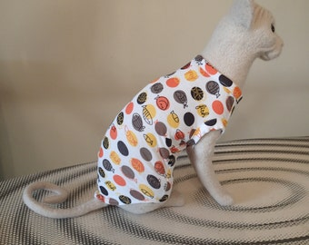SALE ............ Sphynx Cat clothing - Dotty fish top available in Sizes Kitten, Small, Med & Large