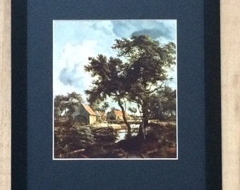 """Framed and Mounted The Watermill Print by Meindert Hobbema 16"""" x 12"""""""