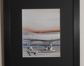 """Mounted and Framed - Day of Slowness Print by Yves Tanguy - 14"""" x 11"""""""