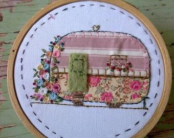 SALE   Hand Embroidered Caravan Embroidery Hoop Art Wall Hanging