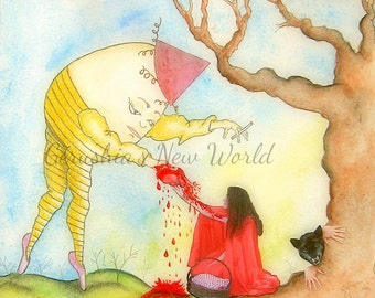 Be Still My LIttle Red Heart - Salted Watercolor, Print, Humpty Dumpty, Whimsical, Little Red
