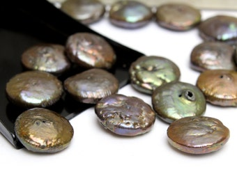 Brown Green Iridescent Freshwater Coin Pearls 12mm 9pcs