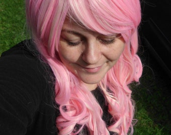 Pink and Blond Wig, lolita wig, Long curly wig, Cosplay, Long Curly Wig, blonde Mix , side swept bang, heat safe, pastel wig, multi color