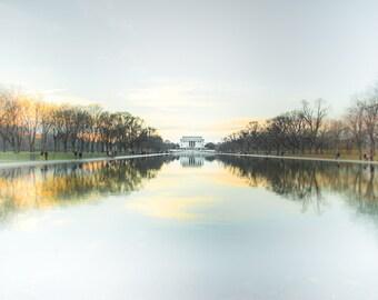 "Washington DC Art, Lincoln Memorial, Fine Art Print, Washington DC Photography, National Mall, DC Skyline, B&W Option - ""Reflecting Pool"""