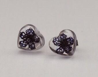 Stud earrings, crochet flower earrings, resin earrings with flower, heart earrings, purple earrings.