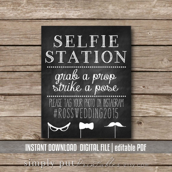 selfie station photo booth chalkboard sign printable grab a. Black Bedroom Furniture Sets. Home Design Ideas