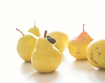 Yellow Pears on White Art Photograph