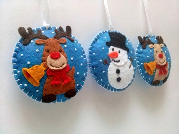 Felt christmas ornaments - set of 3 snowman, brown reindeer, beige reindeer / wool blend felt/ blue background