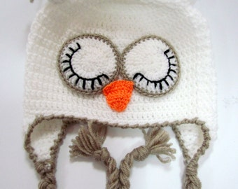 Owl  Hat, owl crocet hat, Child Animal Hat, winter baby Hat, Crochet Baby Hat,Children hat, baby hat with earflaps owl