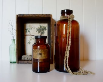 RESERVED FOR KIM ~ Pair of amber glass vintage reagent chemist apothecary bottles