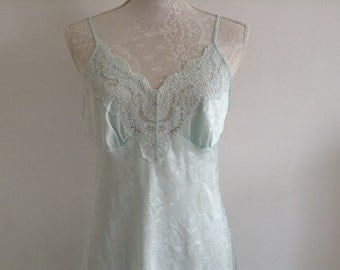 Vintage Pale Green Slip/Petticoat with Lace Detail.