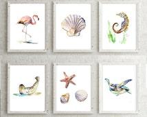 Set of 6 beach Prints - seahorse art - flamingo art - turtle painting - seal art - shell watercolor - ocean art - sea prints beach poster
